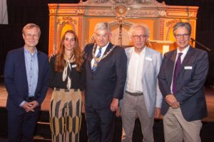The mayor of Utrecht provided a city welcome to delegates of ICIC18 at the Museum Speelklok and is pictured here with hosts Henk Nies and Mirella Minkman from Vilans and IFIC's co-founders Guus Schrijvers and Nick Goodwin